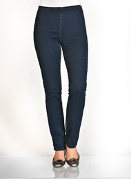"""This natural fit mid rise features lighter weight stretch fabrication, has a no see elastic waistband, flat front, straight leg and a medium rise It is a pull on that replaces the side zip legging and is much easier to pull on. The gently curved shape follows the body's contour The bottom of the waistband sits slightly below the body's natural waist Tailored hips and slimmer thighs create a long lean look  69% cotton 28% polyester 3% lycra - 10oz denim  30"""" inseam Style #426906n"""