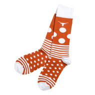 Texas Longhorn Rugby Style Dots & Stripes Socks in Burnt Orange and White with Longhorn Logo at Top