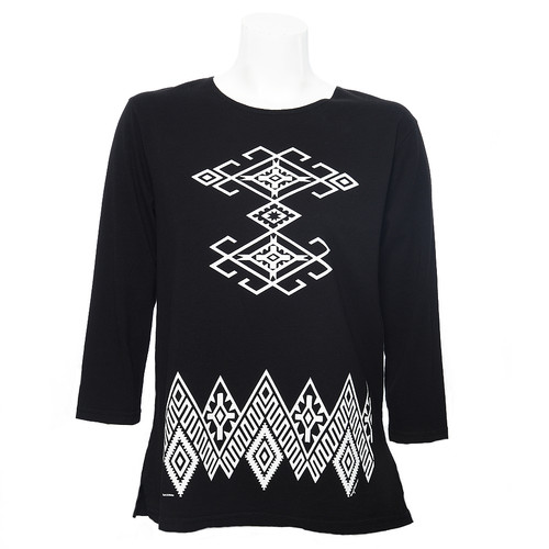 Black, 3/4 Sleeve, Round Neck Tee with White Tucson Inspired Pattern Front and at Hem