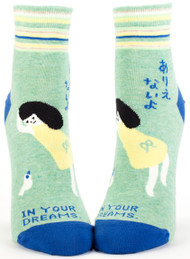 Blue Q Thou Art the Bomb Ankle Socks (Ladies 5-10) in Mint Green, Blue & Yellow