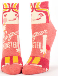 Blue Q Sugar Monster Ankle Socks (Ladies 5-10) in Pinks, Yellow & White