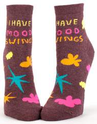 Blue Q I Have Mood Swings Ankle Socks (Ladies 5-10) in Brown, Yellow, Hot Pink and Aqua