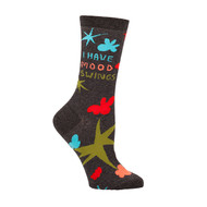 Blue Q I Have Mood Swings Crew Socks (Ladies 5-10) in Brown with Bright Multi-Color Design