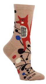 Blue Q Cha Cha Cha Crew Socks (Ladies 5-10) in Khaki, Red & Black