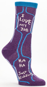 Blue Q I Love My Job Crew Socks (Ladies 5-10) in Purple & Aqua