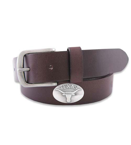 "Leather Belt in Brown or Black with No Tip End and a Metal Conch ""Texas"" and Longhorn Logo"