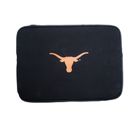"15.6"" Black Soft Sided Laptop Sleeve with Burnt Orange Longhorn Logo"