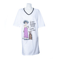 "Over Size, White, Short Sleeve, V-Neck Nightshirt in a Bag with ""I can't be having another crisis...I just had one!"" and Multi-Color Girl with Dog Print"