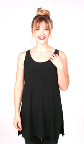 Black Tunic Tank in 94% Polyester and 6% Spandex that's Perfect with Leggings, Jeggings and Layering