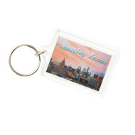 "1 3/4"" X 2 1/4"" Acrylic Key Ring with Austin Cityscape at Sunset by Local Photographer Dennis Nauert"