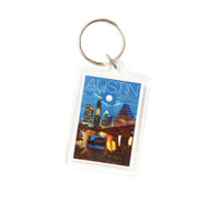 "1 3/4"" X 2 1/4""  Acrylic Key Ring with a Beautiful Night Shot of the Austin Skyline, Town Lake and the Bats"