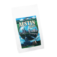 White Kitchen Towel with a Collage of Austin Icons and Austin Skyline