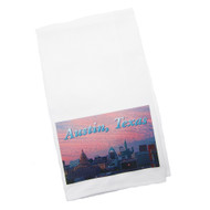 White Kitchen Towel with Austin Cityscape at Sunset