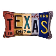 Texas License Plate Art Pillow by Melissa Lyons
