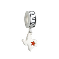 Sterling Silver Enamel Star Texas State Dangle Bead (s80354)