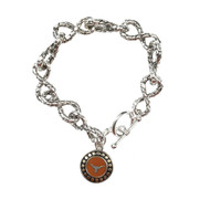 Texas Longhorn Link Bracelet with Silver & Gold Two-Tone Disk