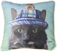 Cat in Hat with Hedgehog Pillow