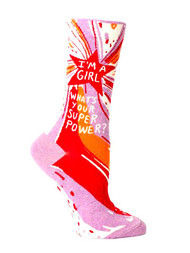 Blue Q I'm a Girl, What's Your Super Power? Socks (SW449)