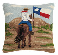 Cowboy with Texas Flag Crewel Pillow (30SJM9181C)