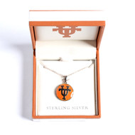 Texas Longhorn Sterling Silver Round Pendant (S45684)