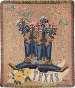 Texas Bluebonnets in Boots Throw (ATTXBB)