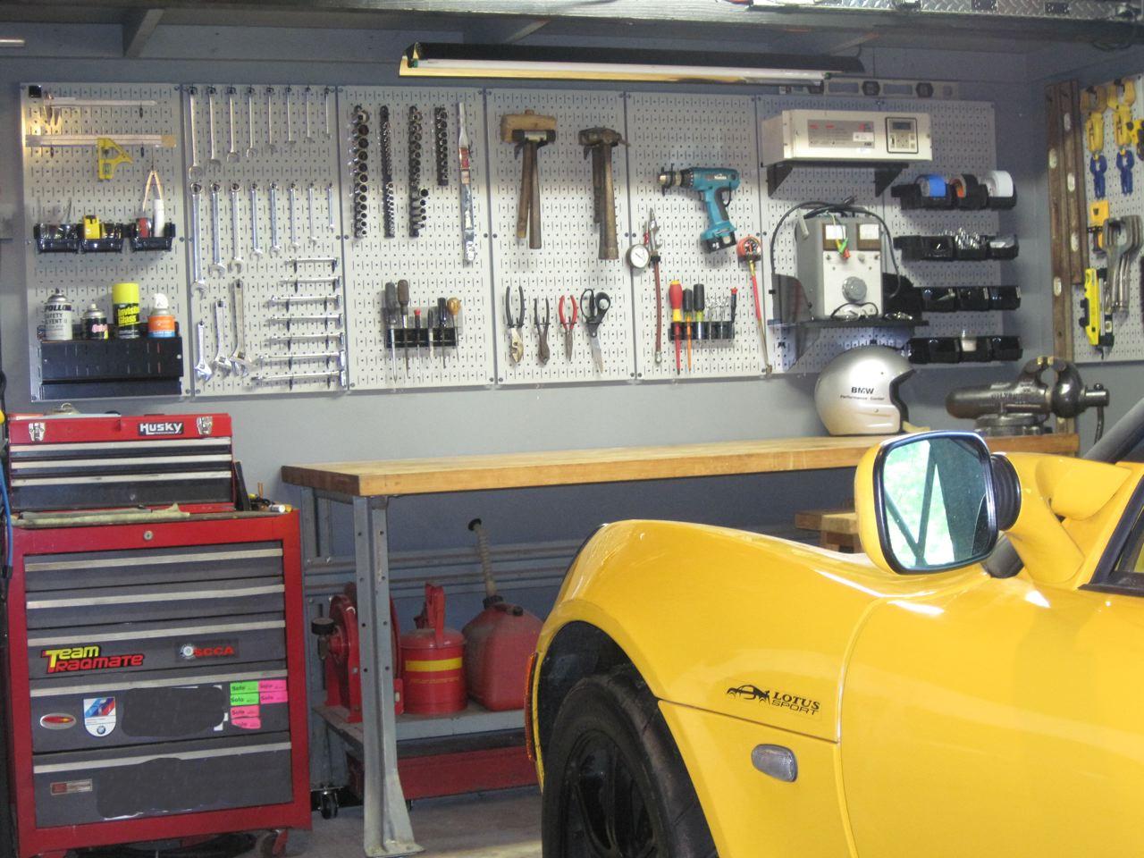 Pegboard Garage Tool Storage