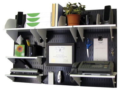 Wall Mounted Home U0026 Office Organizer Kit   Black Wall Panels With  Accessories. Pegboard Office Organizer