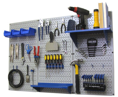 4ft Metal Pegboard Standard Tool Storage Kit   Gray Toolboard With Hooks