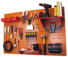 orange pegboard workbench organizer