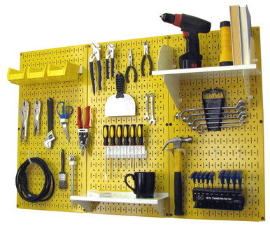 4ft Metal Pegboard Standard Tool Storage Kit   Yellow Toolboard With Hooks