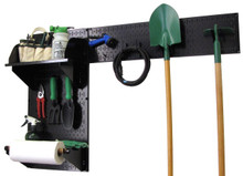 black pegboard for garden tools
