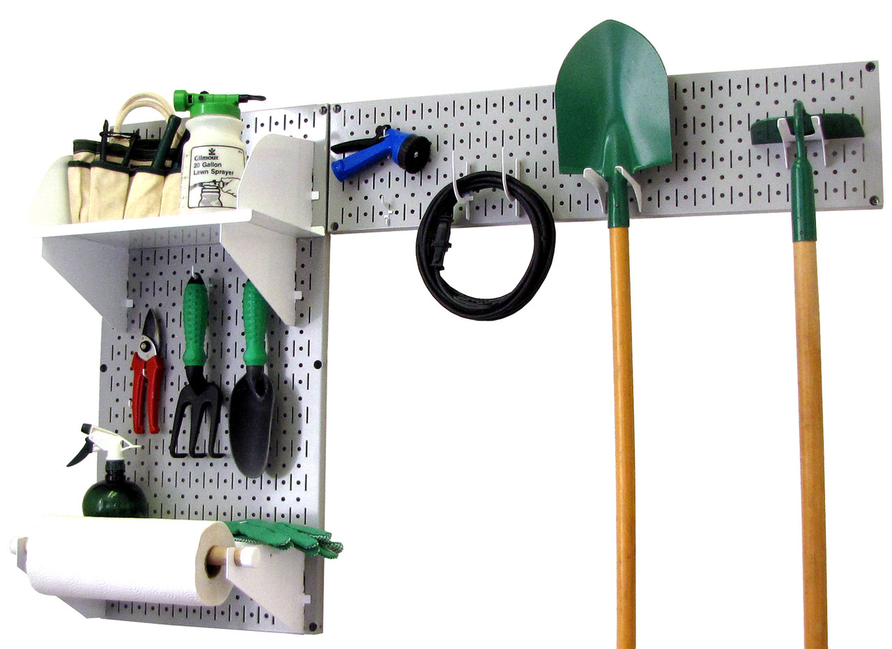 Gray pegboard garden tool organizer grey garden tool for Gardening tools and accessories