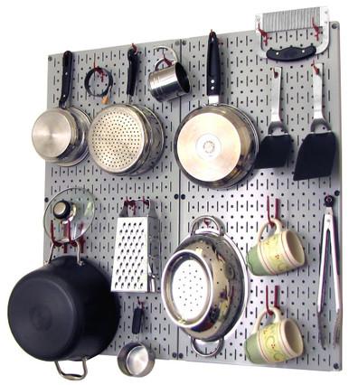 Kitchen Pegboard Organizer Kit Pots U0026 Pans Rack   Gray Pegboard With Hooks