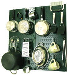 green kitchen pegboard organizer