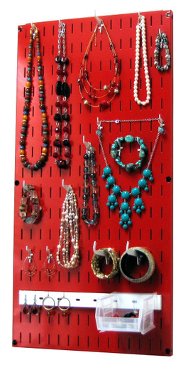 Jewelry Organizer Wall Hanging Jewelry Holder Necklace Rack Red
