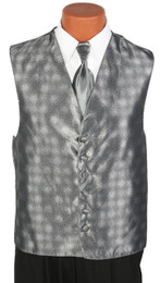 Platinum Perry Ellis Vest and Long Tie