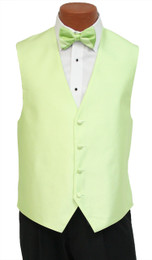 """Red Sleeve """"Reflection"""" Vest and Striped Bow Tie in Honey Dew"""