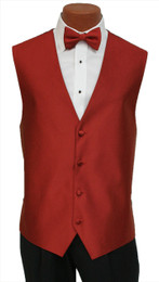 """Red Sleeve """"Reflection"""" Vest and Tie Set in Ruby"""