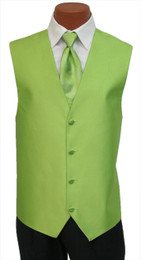 """Red Sleeve """"Reflection"""" Vest and Long Tie Set in Green Apple"""