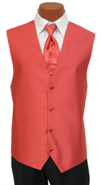 """Red Sleeve """"Reflection"""" Vest and Long Tie Set in Persimmon"""