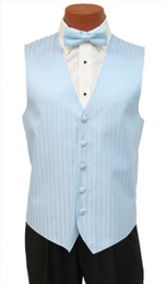 "After Six ""Radar"" Vest and Bow Tie in Light Blue"