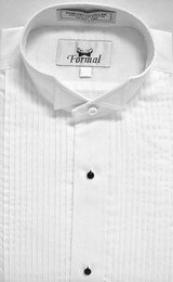 Boys White 1/4 Pleat Wing Collar Shirt