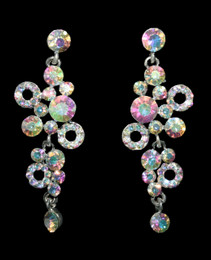 Bubbly Iridescent Rhinestone Earrings Cristal D'Or 6682AB