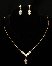 Petite AB Gold Necklace & Earring Set Cristal D'Or #6731