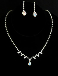 Iridescent Teardrop Necklace and Earring Cristal D'Or Set #CD-6606