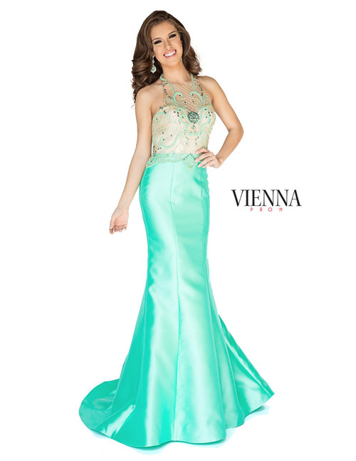 Vienna Prom 8254 Mint Mermaid Illusion Dress