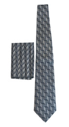 New 100% Silk Silver Tie and Pocket Square