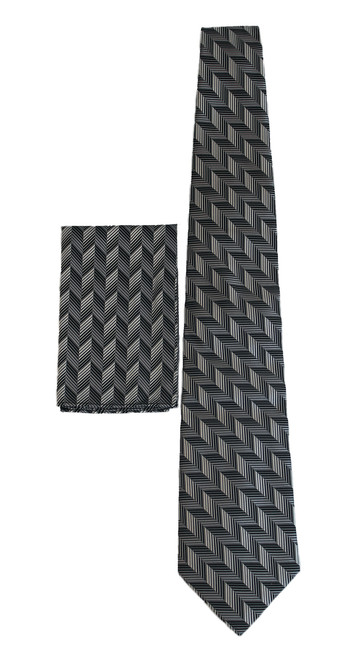 New 100% Silk Black/Charcoal Tie and Pocket Square