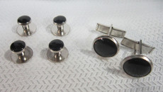 Black and Silver Studs and Cufflinks Set