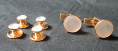 Pearl White and Gold Studs and Cufflinks Set